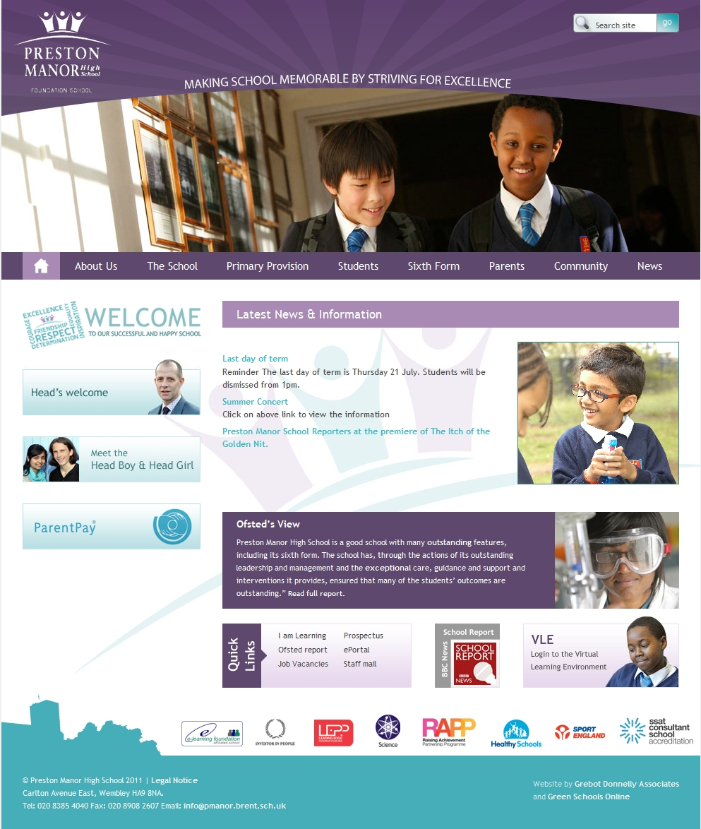 Examples of purple school website design for inspiration for Blueprint websites