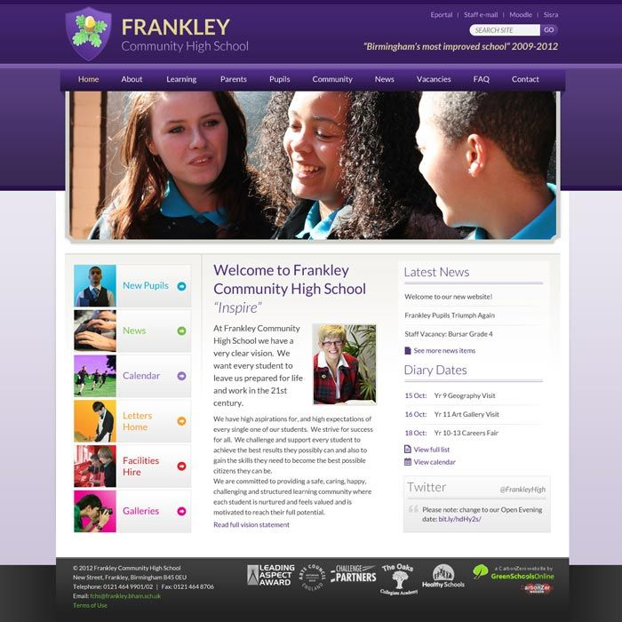 School Website Home Page Design