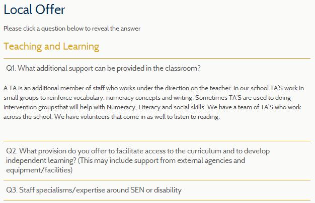 school website SEN FAQ