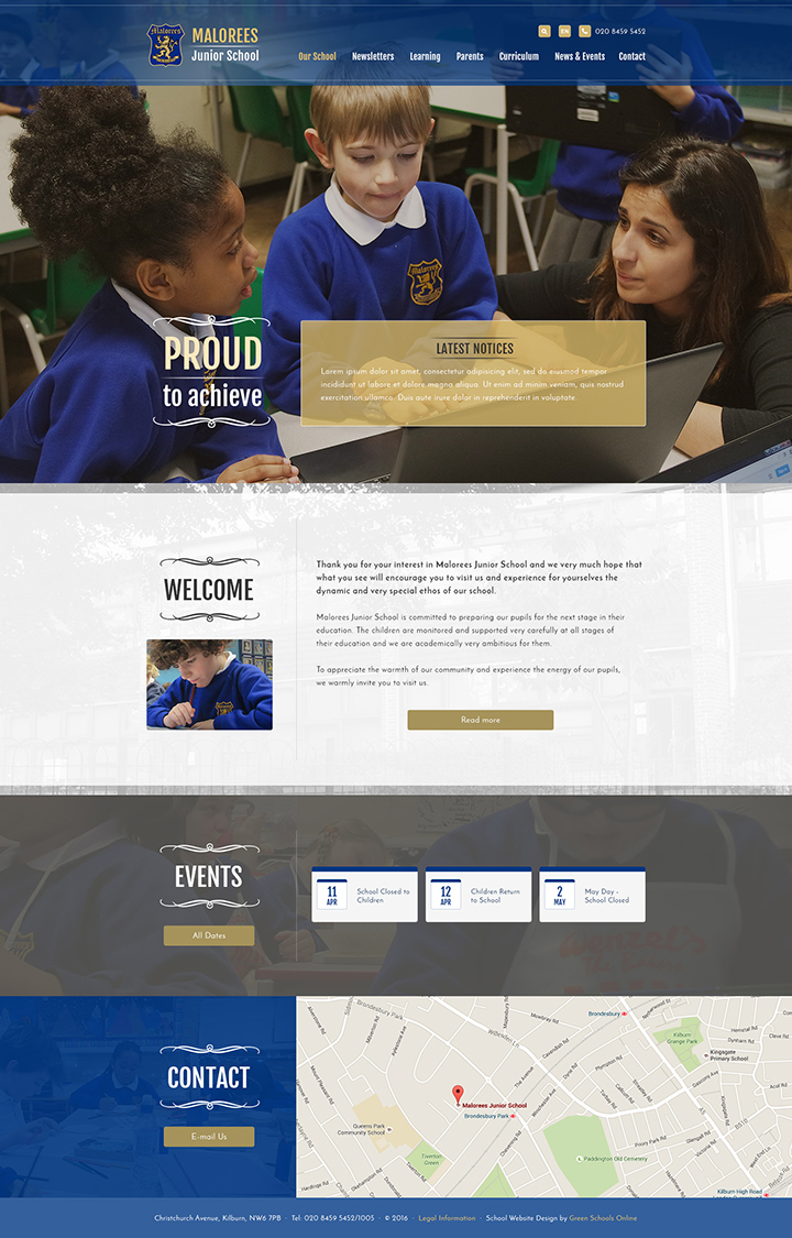 Malorees Junior Website Design